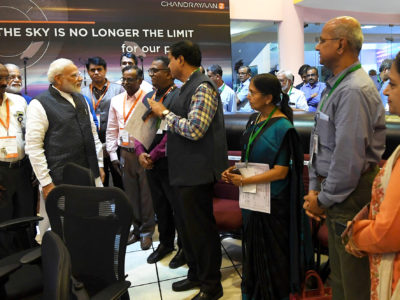 India's Prime Minister Narendra Modi interacts with the scientists of Indian Space Research Organisation (ISRO) at its headquarters in Bengaluru,  September 7, 2019. Press Information Bureau/Handout via REUTERS