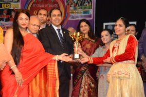Congressman Raja Krishnamoorthi, D-Illinois, joins organizers on stage at the Desi Talk Chicago Diwali Mela which is an annual event. (Photo: courtesy Desi Talk Chicago)