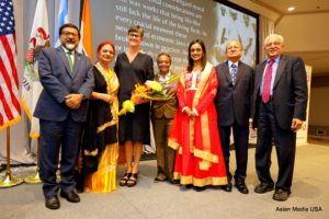 Consul General from India, Sudhakar Dalela, Mrs Pratima Shah,  First Lady of Chicago Amy Eshleman,  Chicago Mayor Lori E. Lightfoot, Smita N Shah, Niranjan Shah and Dr Vijay Dave at Delhi Committee of the Chicago Sister Cities Annual Luncheon on Sept 27, 2019. (Photo: Asian Media USA)