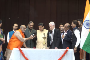The lamp lighting ceremony at the recent launch of the non-profit, Support New India, in Somerset, N.J. Seen in photo is Gautam Patel, left, president of SNI, Piyush Patel, vice president, Padma Shri Dr. Sudhir Parikh and others.  (Photo: ITV Gold)
