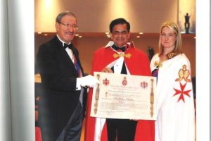 Prince Peter de Lemosses, head of the Ecumeninical Hospitaller Order of Saint John, left, and his sister, right, with Padma Shri Dr. Sudhir Parikh, center. (Photo courtesy Dr. Parikh)