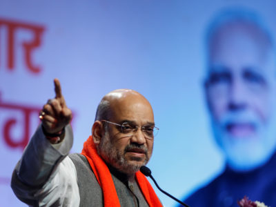 Amit Shah addresses Bharatiya Janata Party workers in Ahmedabad, February 12, 2019. REUTERS/Amit Dave/File Photo