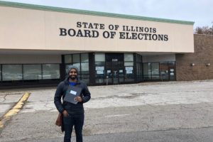 Kevin Olickal, candidate for Illinois General Assembly from District 16 House seat, stands in front of the Board of Elections office where he filed his papers Dec. 2, 2019, to begin his campaign for office. (Photo: courtesy Kevin Olickal)