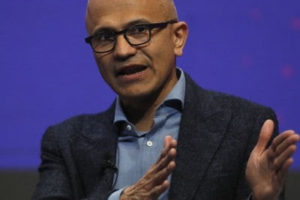 Microsoft CEO Satya Nadella, seen here in February 2019, has criticized India's new religion-based citizenship law. (Bloomberg photo by Stefan Wermuth)