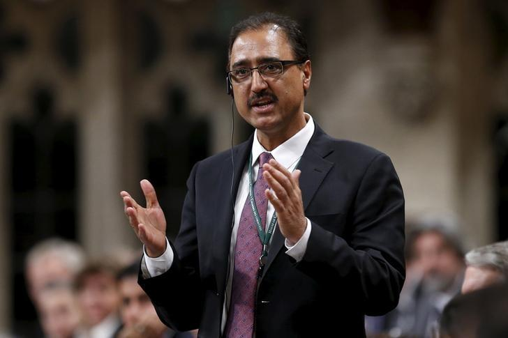 Canada's Infrastructure and Communities Minister Amarjeet Sohi speaks during Question Period in the House of Commons on Parliament Hill in Ottawa, Canada, December 8, 2015. REUTERS/Chris Wattie/Files