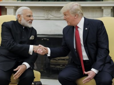 U.S. President Donald Trump shakes hands with India's Prime Minister Narendra Modi as they begin a meeting in the Oval Office of the White House in Washington, U.S., June 26, 2017. REUTERS/Carlos Barria