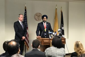 Governor Phil Murphy of New Jersey, with New Jersey Attorney General Gurbir Grewal. (Photo: Twitter)