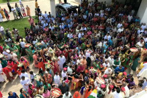 Devotees gathered for the pooja.