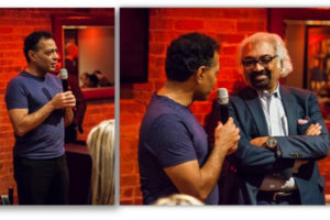 Left, tech entrepreneur Jai Shekhawat addresses the audience at the Dec. 1 brunch in downtown Chicago where the new National Indo-American Museum's launch was announced; Right, Sekhawat introduces Chicago-based  IT entrepreneur Sam Pitroda. (Photos: NIAM)