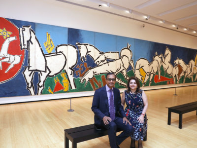 World largest painting of M.F. Husain Lightning, 1975 Oil on canvas Twelve panels, overall: H.10 x W. 60 ft. (3 x 18 m) display at Asia Society from 20th march 2019-Aug 4th owned by Marguerite and Kent Charugundla a prominent art collector, inventor, and serial entrepreneur, who has supported many artists in New York...pic Mohammed Jaffer-SnapsIndia