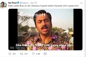 "Kal Penn on Twitter with brief video on ""Ladies Bhai"" (Photo: Kal Penn Twitter video/screen grab)"
