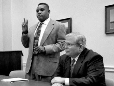 Thomas Hofeller, center, at a House Government and Oversight Census Subcommittee hearing in 1998. (Wasjhington Post photo by Ray Lustig)