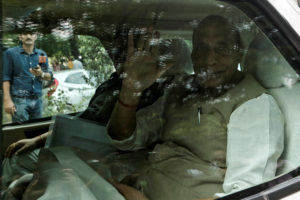 Defence Minister Rajnath Singh leaves after a meeting at the house of Prime Minister Narendra Modi's house in New Delhi, August 5, 2019. REUTERS/Adnan Abidi