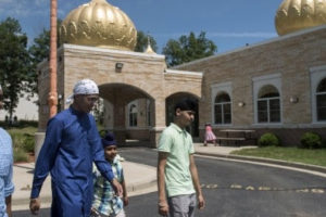 From left to right, Prabhjot Singh, 16, Parminder Jawanda, 14, Manjot Singh, 8, and Prabhjot Singh Rathor, 17, at the Sikh Temple in Oak Creek, Wisconsin. Photo: Lauren Justice for The Washington Post.