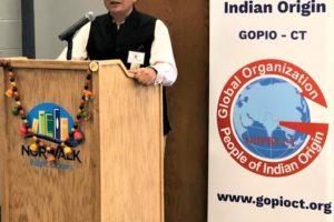 Indian Consul General in New York Sandeep Chakravorty speaking at the unveiling of Indian Collection at the Norwalk Pubic Library in Norwalk, Connecticut, Sept. 15, 2019. (Photos courtesy GOPIO-CT)