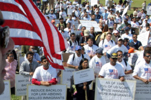In this file photo from 2007, skilled immigrants, including doctors and engineers, rally on Capitol Hill in Washington, to protest long delays in getting green cards. (Washington Post photo by Jahi Chikwendiu)