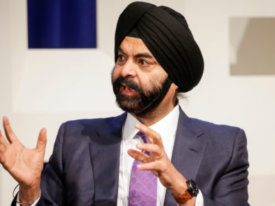 Mastercard President and CEO Ajay Banga speaks to attendees during the Department of Homeland Security's Cybersecurity Summit in Manhattan, New York, U.S., July 31, 2018.  REUTERS/Eduardo Munoz/Files