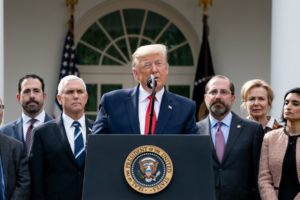 President Trump announces guidelines for America on Coronavirus. Seen in photo is Seema Verma, second from right, administrator of Centers for Medicare and Medicaid. (Photo: whitehouse.gov)