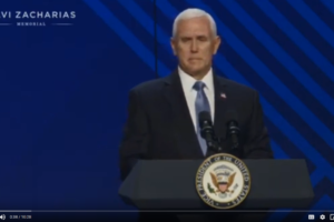 Vice President Mike Pence delivering eulogy at memorial for Ravi Zacharias May 29, 2020, at Atlanta,Georgia (Photo: Videograb from YouTube- www.youtube.com/watch?v=_d-3K_hy200)