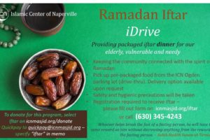 Flyer describing the iDriveProgram of the Islamic Center of Naperville, Illinois, which has been distributing meals to seniors and others during COVID-19. Photo: courtesy ICN