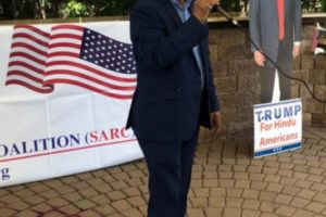 Hemant Bhatt, founder and president of South Asian Republican Coalition, addresses gathering in Fords, N.J., during July 4th elerations. (Photo: SARC)