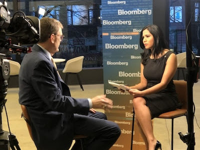 Sonali Basak interviewing UPS's then-CEO David Abney in February. (Bloomberg photo by Reilley Dabbs via The Washington Post Syndicated Service)