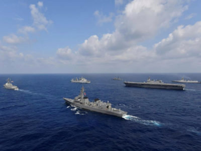 Vessels from the U.S. Navy, Indian Navy, Japan Maritime Self-Defense Force and the Philippine Navy sail in formation at sea, in this recent taken handout photo released by Japan Maritime Self-Defense Force on May 9, 2019. Japan Maritime Self-Defense Force/Handout via REUTERS/File Photo