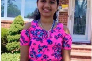Sahana (11), a girl scout cadet created a website to raise funds for young cancer survivors and helped facilitate a robotics club.  Photo courtesy Girls Computing League (