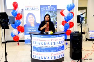 Vasavi Chakka, candidate for Naperville, Ill. City Council, speaking to supporters at the Jan. 16, 2021 campaign kickoff event. Photo: courtesy Asian Media USA