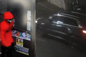The unidentified shooter (left) fled the scene in a dark-colored Jeep Grand Cherokee (right) on Dec. 12, at Craig's Food Mart in Hazelton, PA, after shooting Ashokkumar Patel, the store clerk. Photo: screengrab – Luzerne County District Attorney's Office Press Conference Video