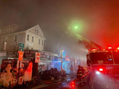 The roof of Prince Kebab & Chinese Restaurant in Jackson Heights, Queens where the massive fire started.  Photo Credit - Darshak Gosalia