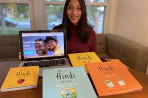 Reena Bhansali of Los Angeles poses with some of her Hindi teaching materials. She is about to launch her Hindi learning video subscription service, Hindi by Reena on March 30, 2021.  Photo Courtesy - Reena Bhansali