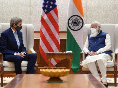 U.S. Special Presidential Envoy for Climate John Kerry meets with India's Prime Minister Narendra Modi in New Delhi, India, April 7, 2021. India's Press Information Bureau/Handout via REUTERS/File Photo
