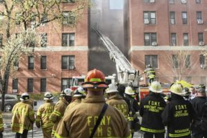 FDNY personnel at the site of the 8-alarm fire April 6, 2021. Photos: FDNY Facebook