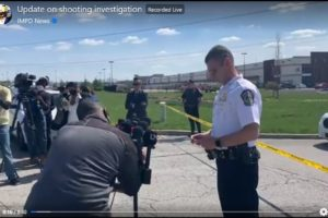 Indianapolis Metropolitan Police Department press briefing April 16, 2021, on the mass shooting at Fedex facility on April 15, 2021 late night around 11 pm. Photo videograb IMPD Facebook