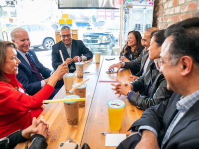 Presidential candidate Joe Biden, second from left, with AAPI Victory Fund chairman and founder Shekar Narasimhan to his left, and other AAPI leaders Jan. 10, 2020, in Los Angeles. (Photo: courtesy Joe Biden Campaign)