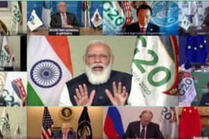 Prime Minister Narendra Modi addresses the 15th G20 summit via video conferencing in New Delhi. Photo courtesy PIB