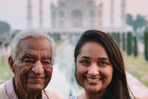 K.S. Walia, left, with his granddaughter, Avani Singh, in India. MUST CREDIT: Family photo