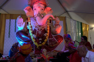 2.A massive Ganesh murti was the highlight of the festival held Sept. 15, 2021, in Bellerose, Queens, NY. Photo: Raja Bhatty, ITV Gold.